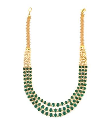 3 Line Gold with Diamond and Oval Emerald Necklace