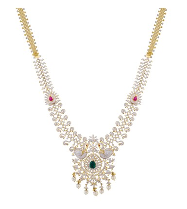 Gold with diamond peacock design bridal haram necklace