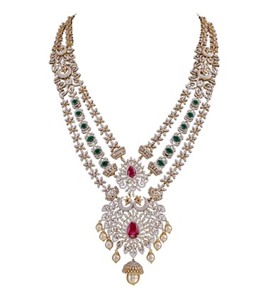 3 Step gold with diamond, emerald and ruby necklace