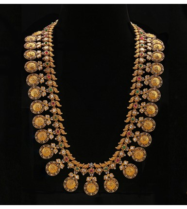 Uncut Diamond with Gold Kasu Haram Necklace