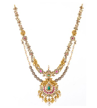 Gold with diamond bridal Pacchi necklace