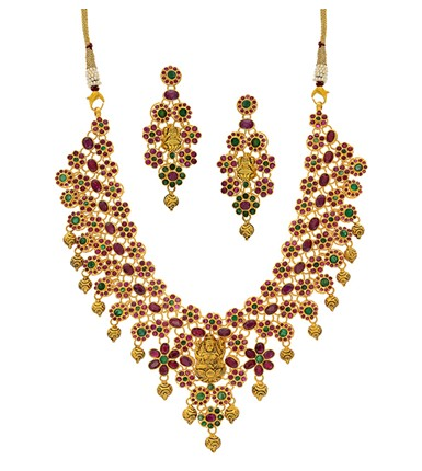 Gold Ruby Emerald Necklace Set