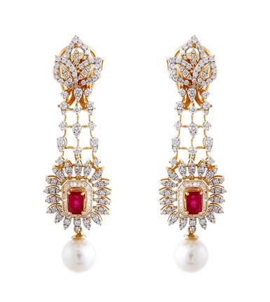 Stunning Diamond Earrings studded with ruby and the pearl drop