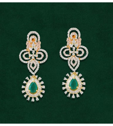 Gold 18 ct Diamond and Emerald drop earrings