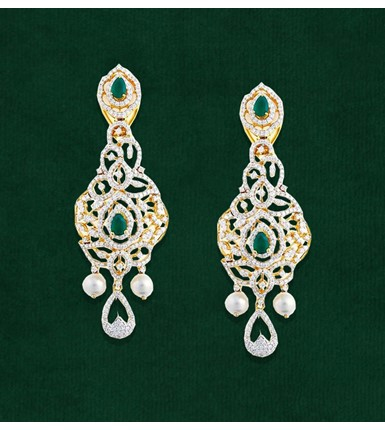 Stunning Diamond Earrings Studded with Pearl Shape