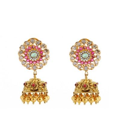 Enticing 22 carat precious rubies, diamond and polki studded gold jhumkas with hanging gold bells