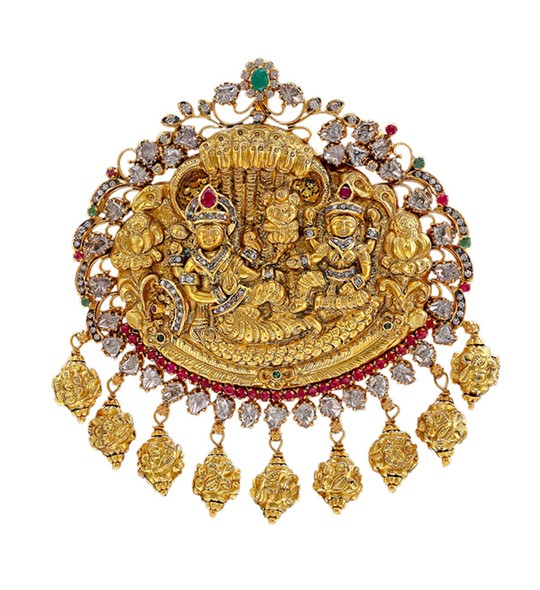 Gold with diamond Lord Vishnu with Lakshmi Pendant