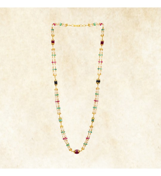 Multi Strand Ruby, Emerald, Blue Sapphire and Pearl Pebble Necklace