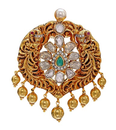 Gold with diamond Multistone Pendant