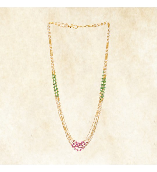 Ruby, Emerald and Pearl Chain Necklace