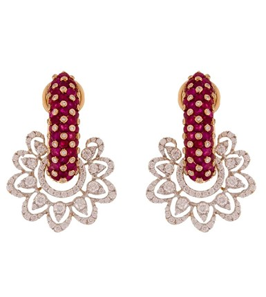 Gold with diamond luxury Ruby Hoop Earrings