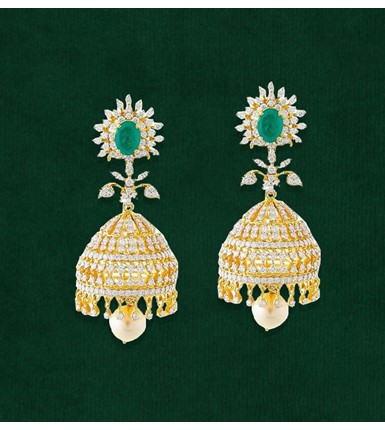 Gold with diamond and emerald studded Jhumkas