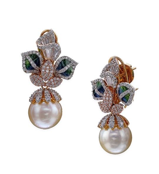 South Sea Pearl gold with Diamond Flower Stud Earrings