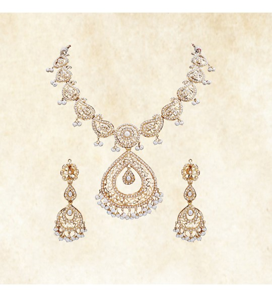 Mango design gold necklace set with pearl drops
