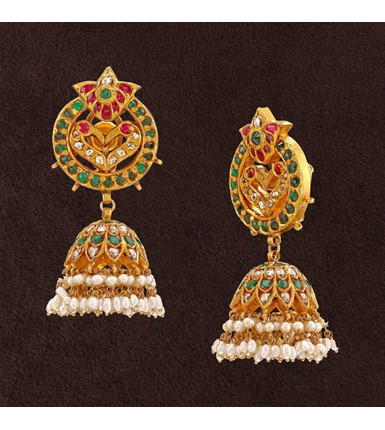 Peacock design Gold Jhumkas with Pearl Drops