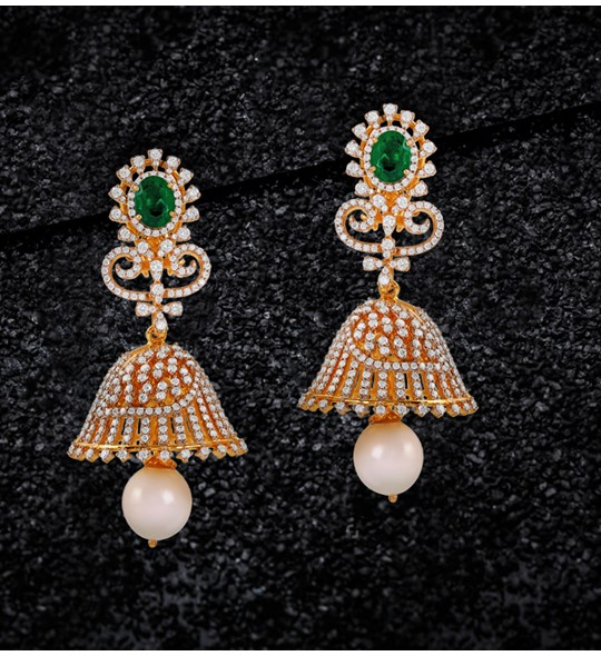 Diamond Jhumka Earrings Crafted In Yellow Gold with Emerald