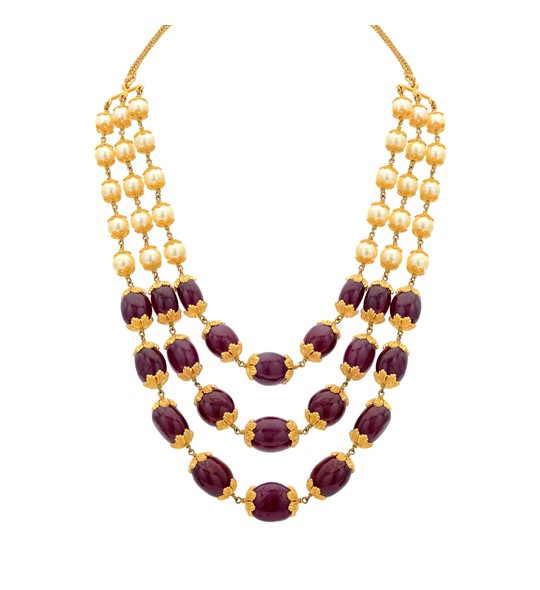 3 Line Ruby Beeds Gold Necklace