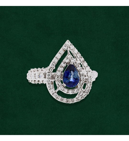 Blue Sapphire and Diamonds Finger Ring