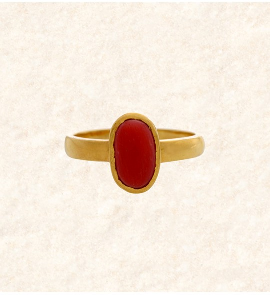 Coral Stone Finger Ring Online