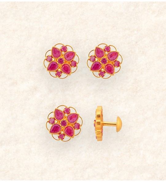 Gold Earrings studded with Ruby flowers