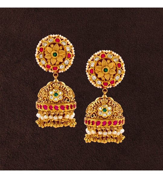Floral Patterns Themed Gold Jhumka Earrings