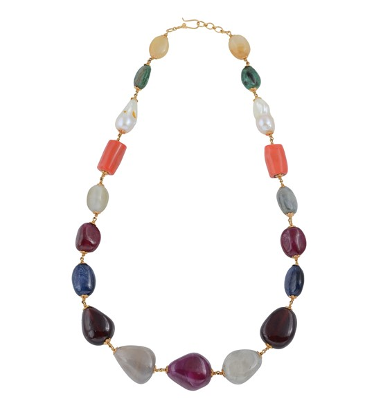 Colorful Precious Gemstone beads Gold Necklace