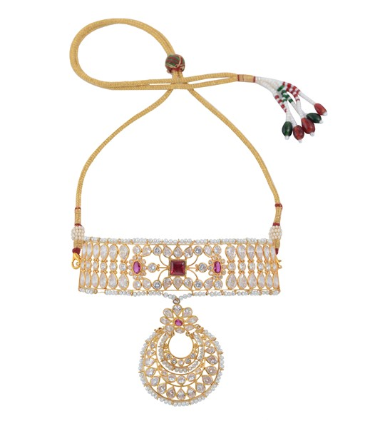 Rajasthan concept themed Choker Necklace crafted using yellow gold