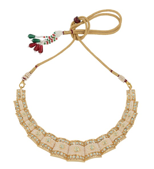 Kaka Moti / Pearls Necklace in yellow gold JGPN0087
