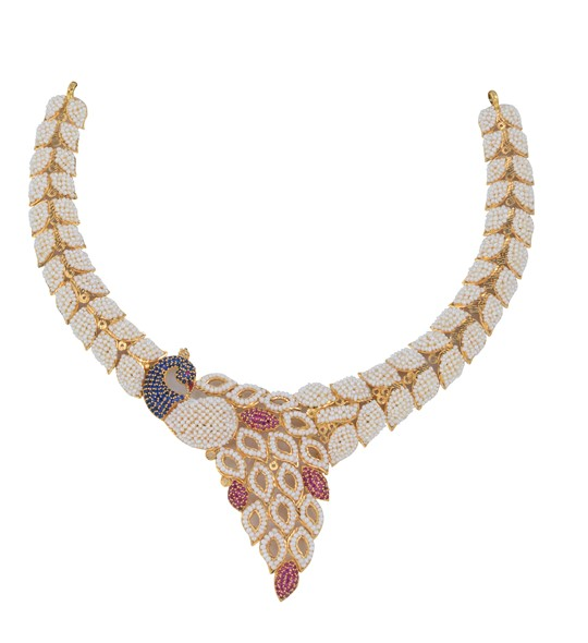 Kaka Moti/Pearls Necklace in yellow gold