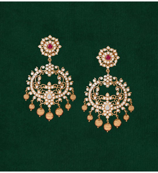 Diamond Chand Bali Earrings crafted using yellow gold in Closed setting