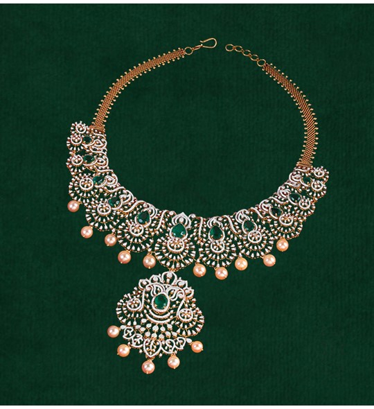 Diamond, Emeralds Necklace crafted using yellow gold