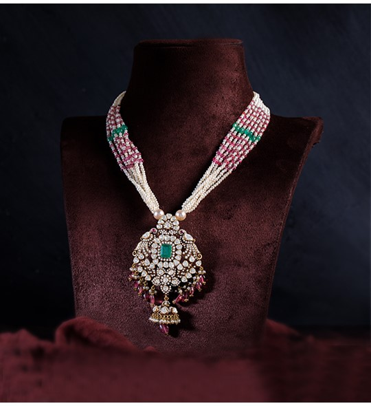 Antique Diamond pendant with Ruby Pearls stringed Necklace in yellow gold