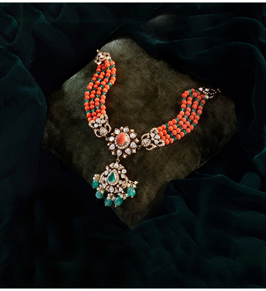 Corals emeralds beads Polki necklace in yellow gold