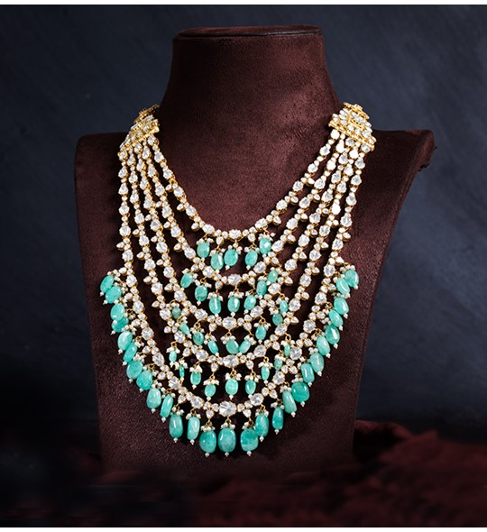 Polki Emeralds beads 5-Rows long Necklace in yellow gold