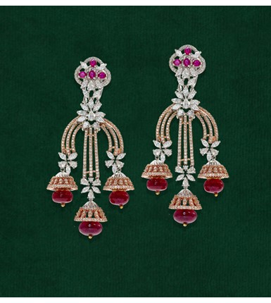 Diamond Ruby Rose Gold Earrings