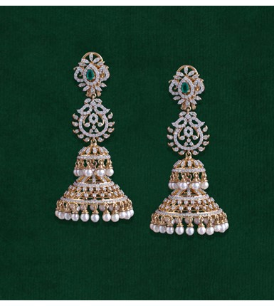 Diamond Double Jhumka Yellow Earrings