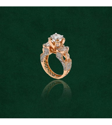 Diamond Stylish Solatire Yellow Gold Ring