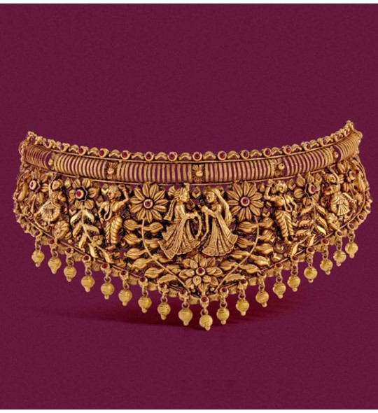 Antique yellow gold choker necklace