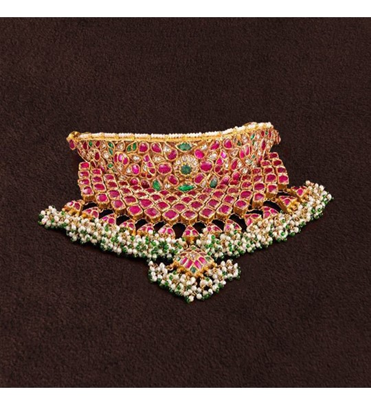 Ruby Emeralad Rose Uncut Pearls Choker Necklace