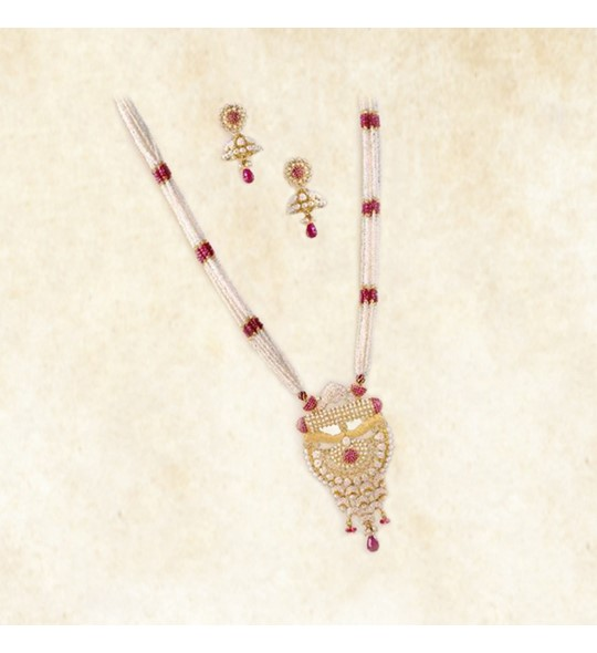 Pearls,Rubies necklace set in yellow gold