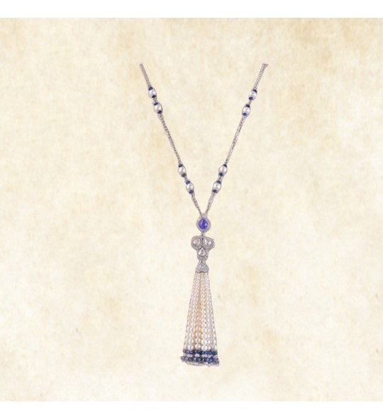 white gold pearls tassels necklace
