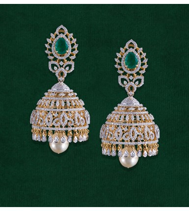 Diamond Jhumka Style Earrings