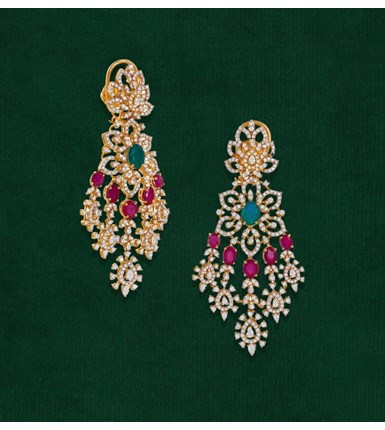 Diamonds, Ruby, Emerald yellow gold earrings