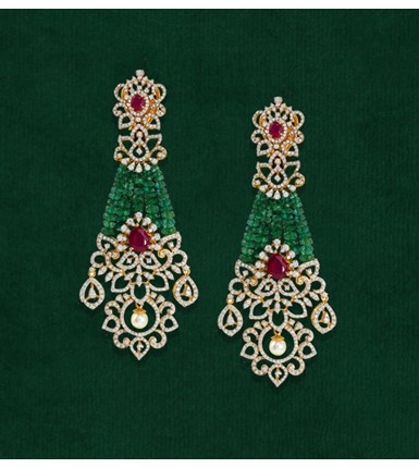 Diamond Earrings With The Dangling Pearls