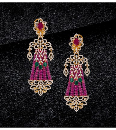 Ruby, diamond yellow earrings